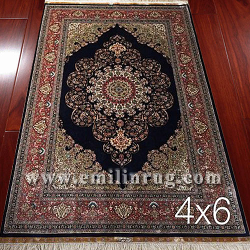 1 4ft X 6ft Vintage Hand Knotted Silk Persian Rugs