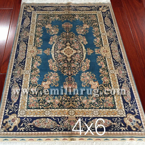 1 4ft x 6ft living room blue oriental pure silk handmade rugs and carpets lz46ad s2 emilin rug - Deluxe persian living room designs with artistic rug collection ...
