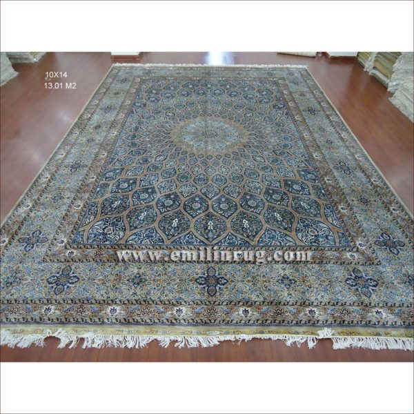 1 10 x 14 blue large hand knotted handmade pure silk living room persian area rugs lz1014ad b1 - Deluxe persian living room designs with artistic rug collection ...