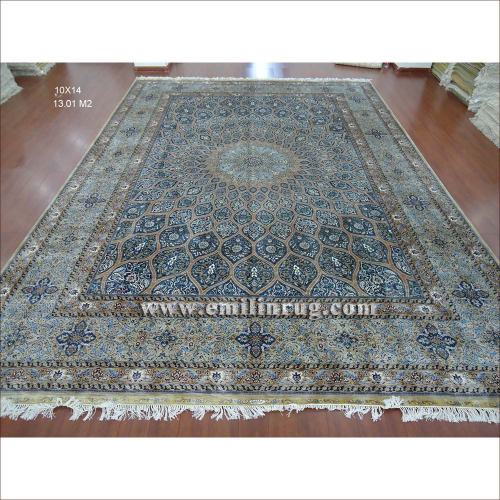 1 10 X 14 Blue Large Hand Knotted Handmade Pure Silk Living Room
