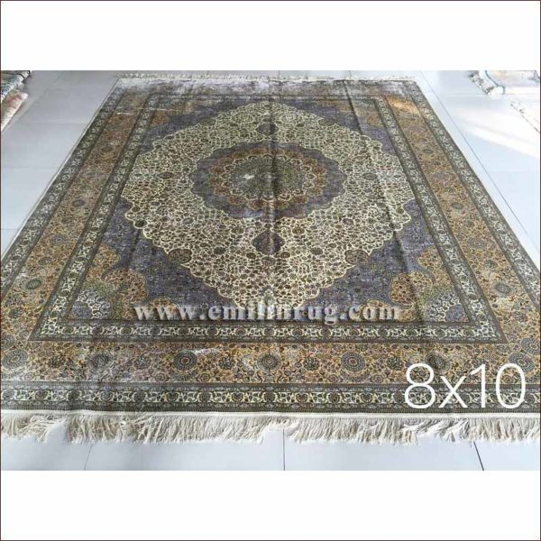 1 8ft x 10ft blue living room large oriental silk hand knotted persian area rug and carpet - Deluxe persian living room designs with artistic rug collection ...