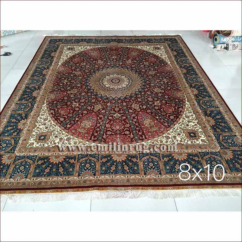 1 8x10 red vintage retro living room oriental silk for Custom made area rugs