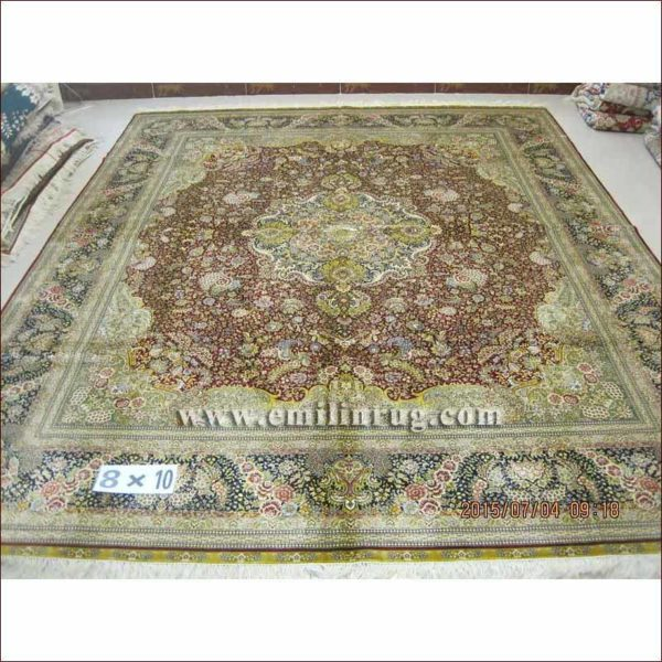 1 8x10 traditional medallion living room big oriental silk handmade persian area rug and carpet - Deluxe persian living room designs with artistic rug collection ...