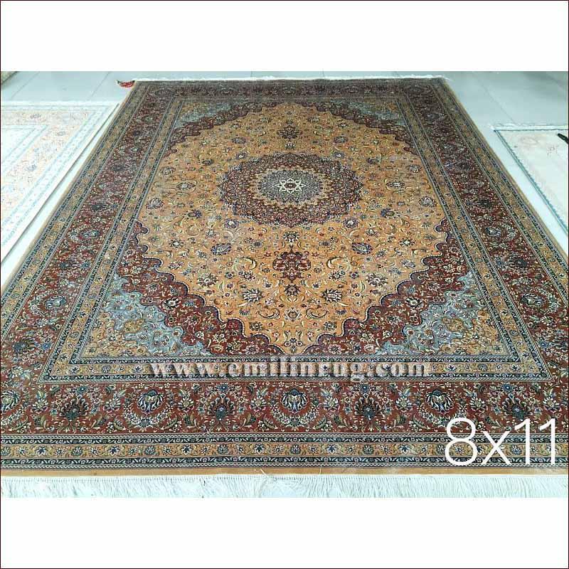 1 8x11 Vintage Blue Living Room Oriental Silk Iranian Persian